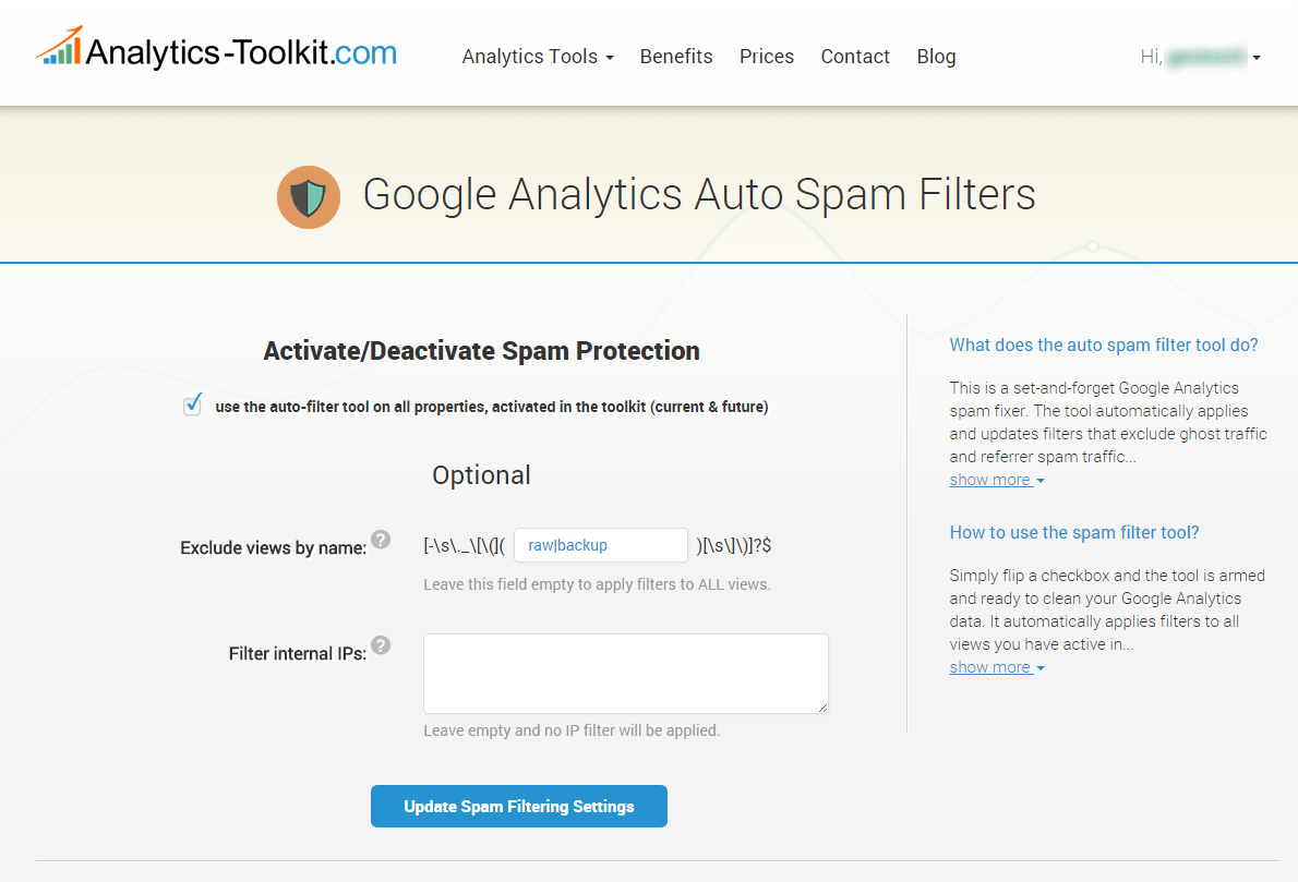Google Analytics Spam Fixer Tool
